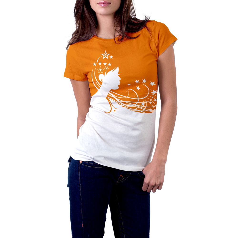 Girl on the star road t shirt design whale shark studio Girl t shirts design