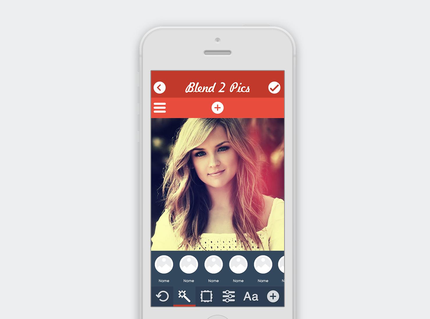 Blend 2 Pics UI Design