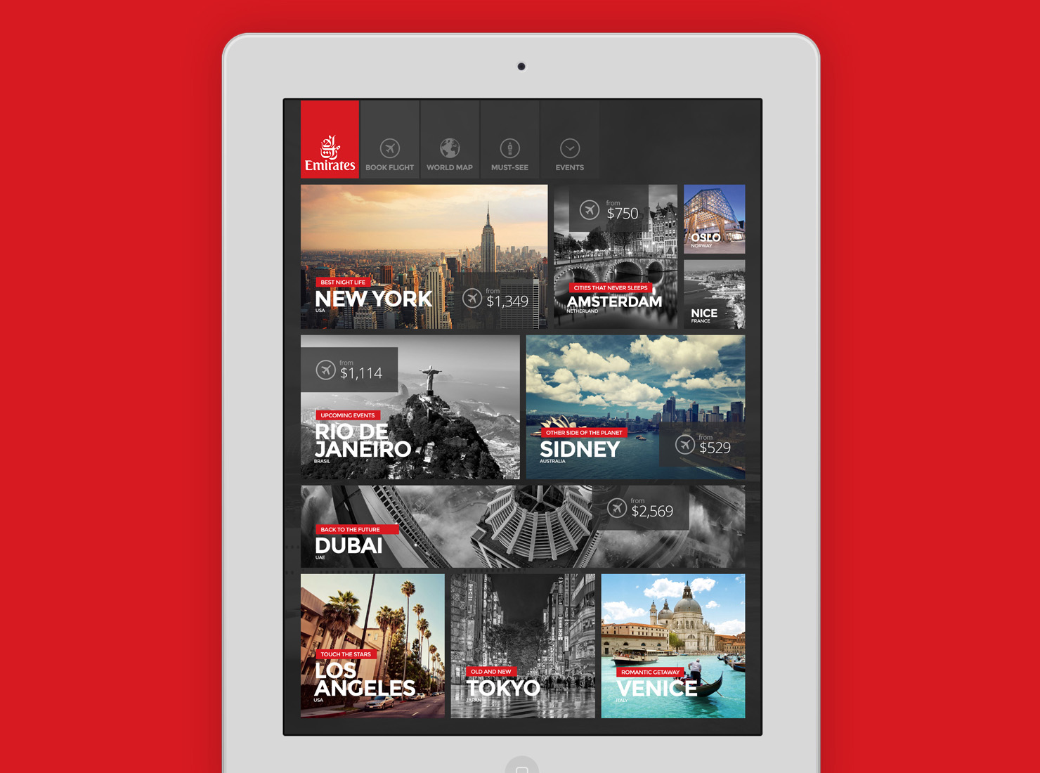 UI design for famous airline company