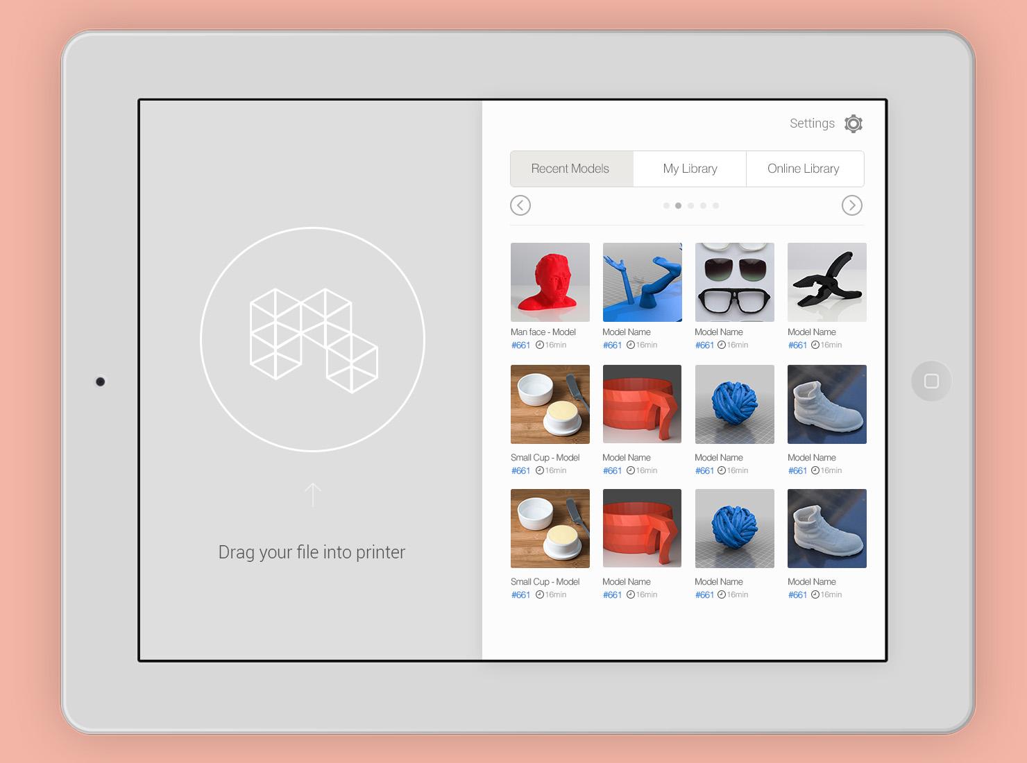 3D Printing Application UI design